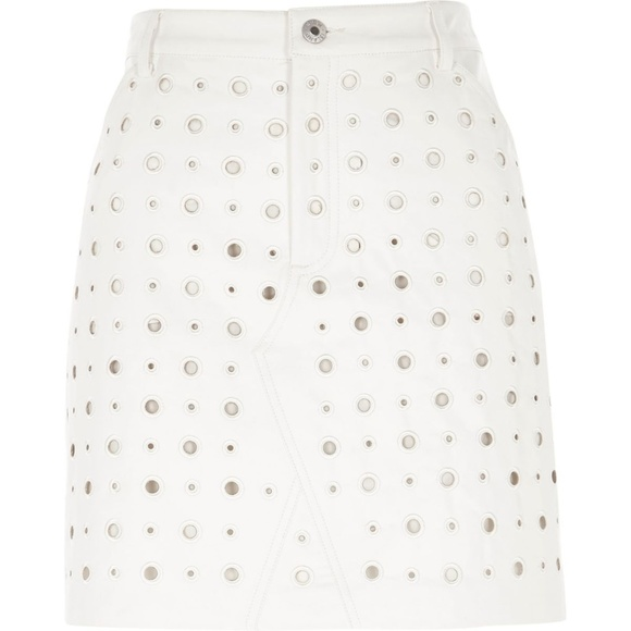 6f43d29989 River Island Skirts | Cream Circle Faux Leather Mini Skirt | Poshmark